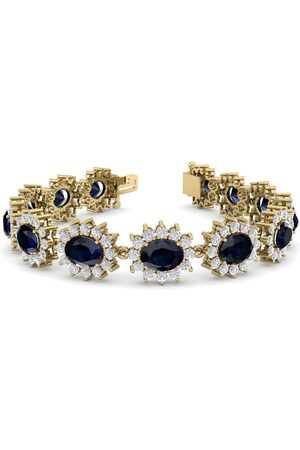 SuperJeweler 25 Carat Oval Shape Sapphire & Halo Diamond Bracelet in 14K (20 g)