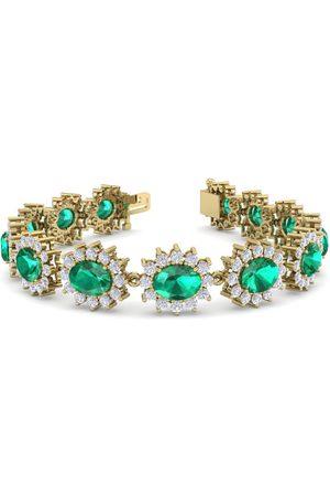 SuperJeweler 19 Carat Oval Shape Emerald Cut & Halo Diamond Bracelet in 14K (20 g)