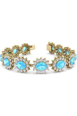 SuperJeweler 24 Carat Oval Shape Blue Topaz & Halo Diamond Bracelet in 14K (20 g)
