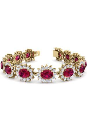 SuperJeweler 25 Carat Oval Shape Ruby & Halo Diamond Bracelet in 14K (20 g)