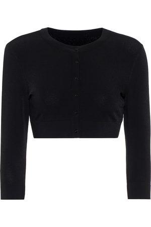 Alaïa Women Cardigans - Cropped stretch-knit cardigan