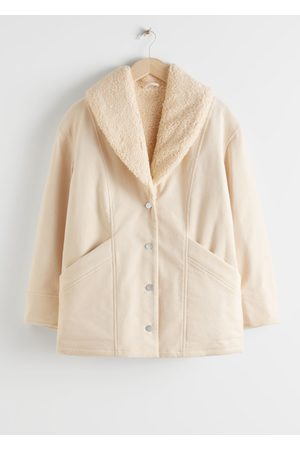 & OTHER STORIES Organic Cotton Blend Shearling Collar Coat