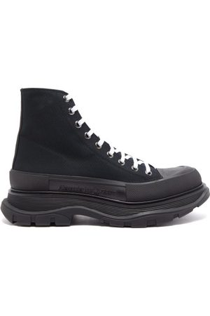 Alexander McQueen Men Sneakers - Tread Slick High-top Canvas And Leather Trainers - Mens