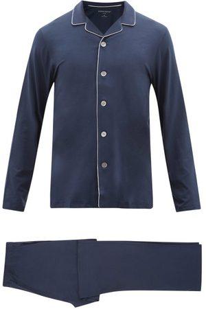 DEREK ROSE Men Pajamas - Basel Piped-trim Modal-blend Pyjamas - Mens - Navy
