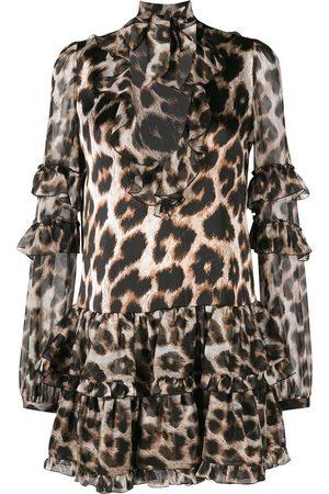 Philipp Plein Women Party Dresses - Leopard print mini dress - NEUTRALS