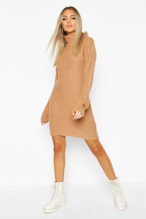 Boohoo Womens Turtleneck Fisherman Sweater Dress - - S