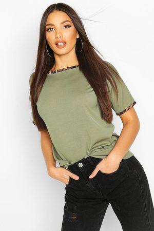 Boohoo Womens Rib Leopard Ringer T-Shirt - - 2
