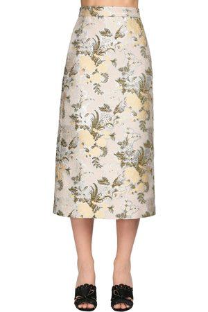 BROCK COLLECTION Flower Jacquard Silk Blend Midi Skirt