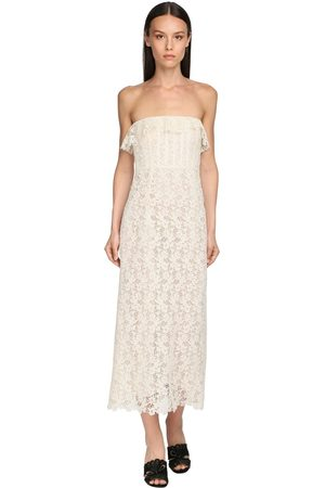 BROCK COLLECTION Strapless Cotton Blend Lace Midi Dress