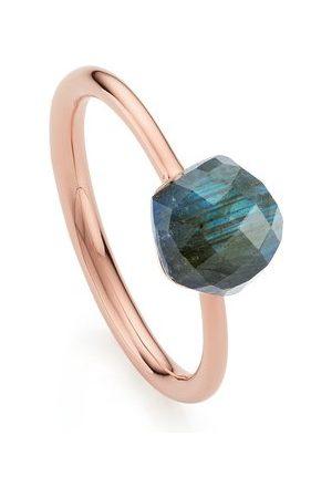 Monica Vinader Women Rings - Rose Gold Nura Mini Nugget Stacking Ring - LIMITED EDITION Labradorite