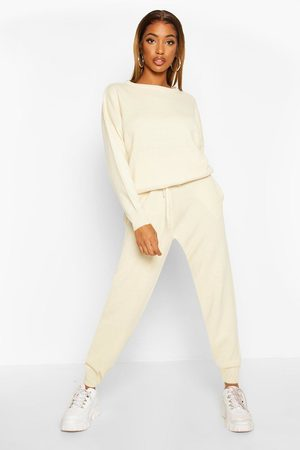 Boohoo Womens Knitted Sweater & Jogger Two-Piece - - S