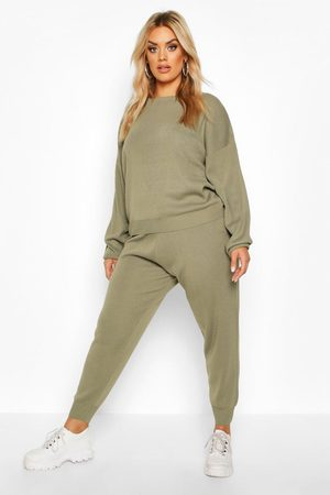 Boohoo Womens Plus Knitted Sweater & Jogger Set - - 12-14