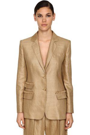 Max Mara Fringed Silk & Linen Blazer