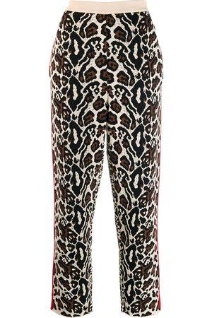 Stella McCartney Knitted leopard print track pants - NEUTRALS