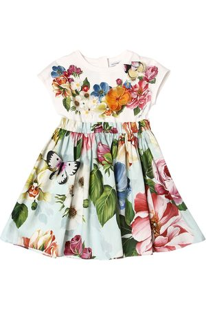Dolce & Gabbana Flower Print Jersey & Poplin Dress