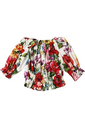 Dolce & Gabbana Flower Print Cotton Poplin Crop Top