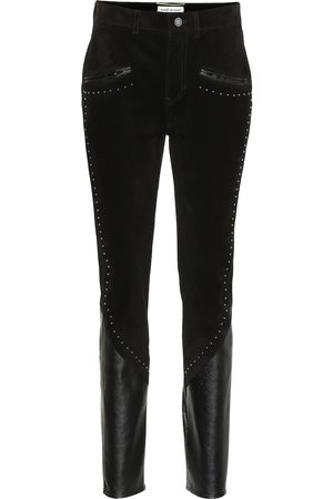 Saint Laurent High-rise slim suede pants