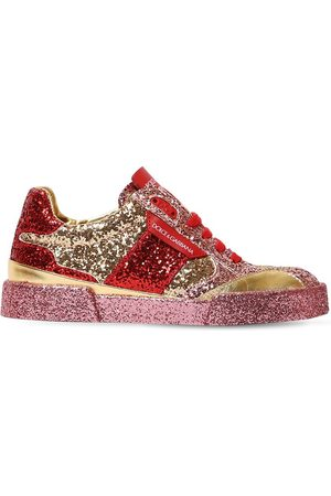 Dolce & Gabbana Glittered Leather Lace-up Sneakers