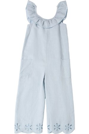 Stella McCartney Linen Overalls W/ Eyelet Lace Detail