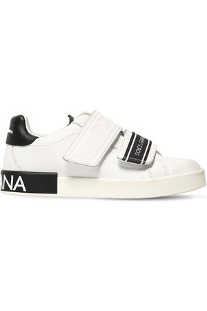 Dolce & Gabbana Logo Printed Leather Strap Sneakers