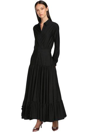 Rochas Cotton Poplin Chemisier Dress W/lace