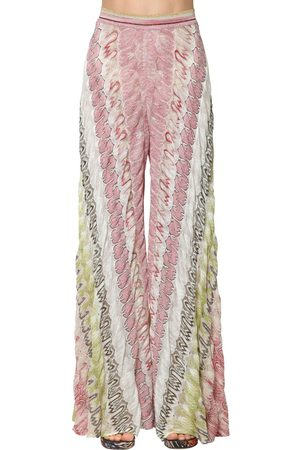 Missoni Rashel Viscose Knit Lamé Wide Leg Pants