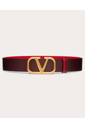 VALENTINO GARAVANI Women Belts - Reversible Vlogo Belt In Glossy Calfskin 40 Mm Women Rubin/pure 100% Pelle Di Vitello - Bos Taurus 70