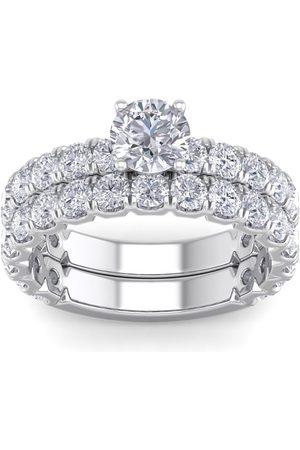 SuperJeweler 3 1/4 Carat Round Moissanite Bridal Ring Set in 14K (6 g)