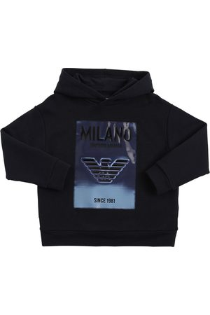 Emporio Armani Cotton Sweatshirt Hoodie W/ Pvc Patch