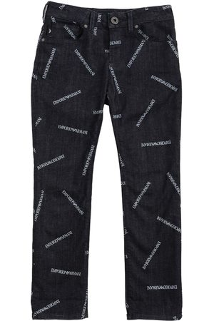 Emporio Armani All Over Logo Stretch Cotton Jeans