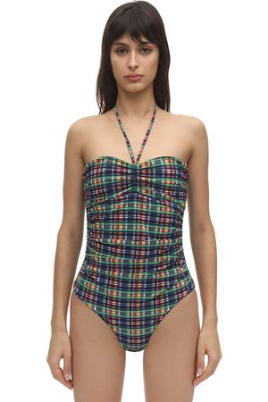 Ganni Seersucker One Piece Swimsuit