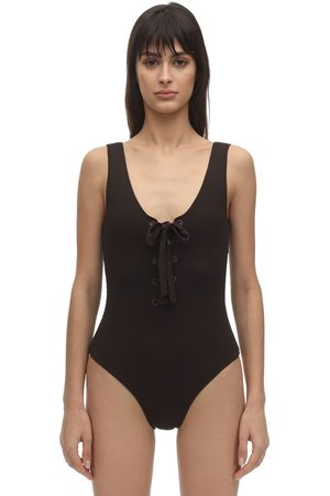 Ganni Textured Lace-up One Piece Swimsuit