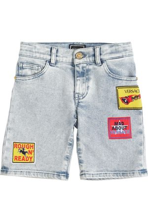VERSACE Stretch Cotton Shorts W/ Patch