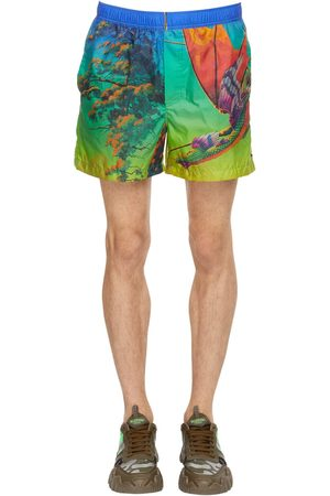 VALENTINO Dragonat Dawn Print Nylon Swim Shorts