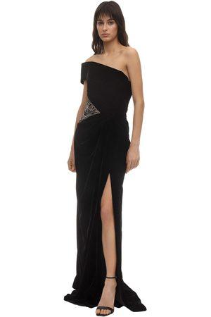 Marchesa Embellished Velvet Dress