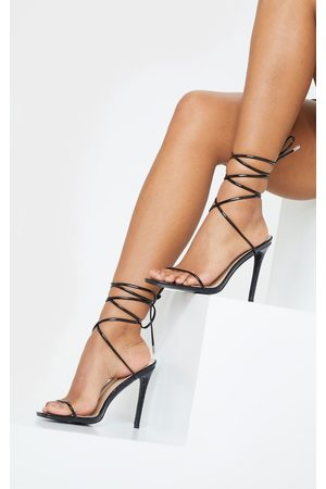 PRETTYLITTLETHING Croc Thin Strap Ankle Tie Strappy Sandal