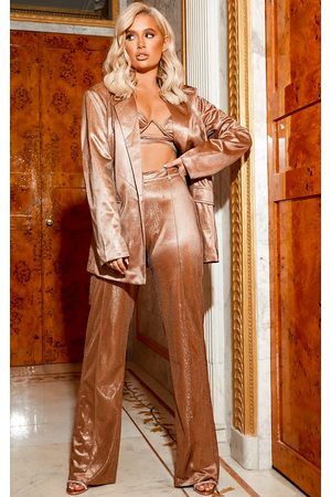 PRETTYLITTLETHING Copper Metallic Wide Leg Pants