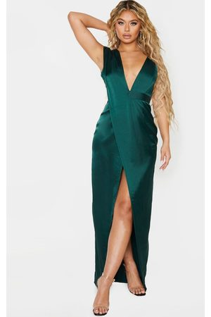 PRETTYLITTLETHING Women Asymmetrical Dresses - Emerald Asymmetric Drape Detail Maxi Dress