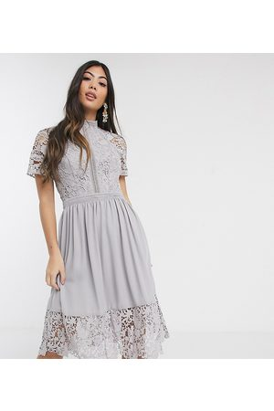Chi Chi London Lace detail skate dress in dove