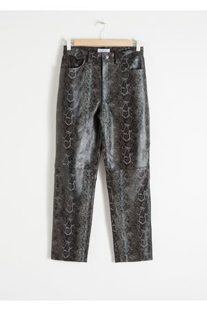 & OTHER STORIES Snake Embossed Leather Trousers - Grey