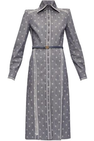 Fendi Karligraphy Ff-embroidered Denim Shirt Dress - Womens - Denim
