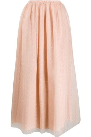 RED Valentino Women Midi Skirts - Tulle pleated midi skirt - Neutrals