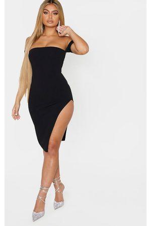 PRETTYLITTLETHING Cuff Detail Side Split Midi Dress