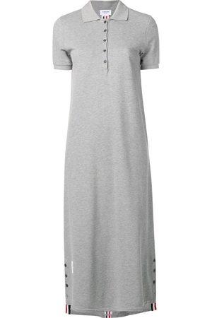 Thom Browne Center-Back Stripe Long Polo Dress - Grey