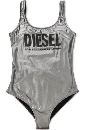 Diesel TEEN logo lamé one-piece swimsuit