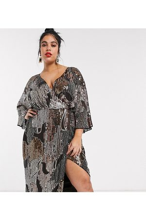 ASOS ASOS DESIGN Curve midi kimono dress in pearl and sequin patched embellishment