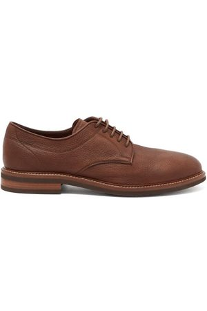 Brunello Cucinelli Unlined Leather Derby Shoes - Mens - Dark