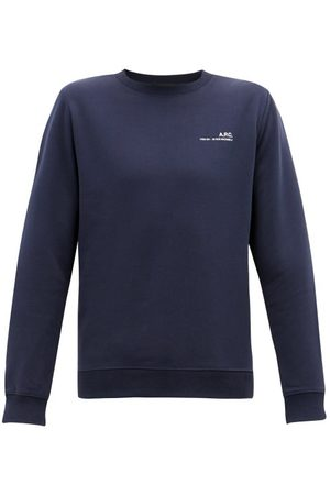 A.P.C. Men Sweatshirts - Item Logo-print Cotton-jersey Sweatshirt - Mens - Dark Navy