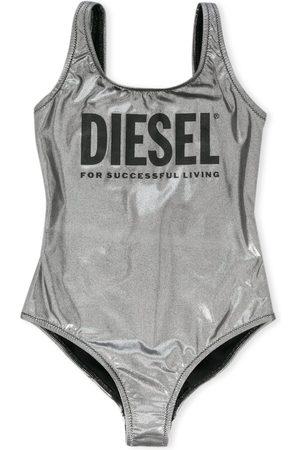 Diesel Metallic logo print swimsuit