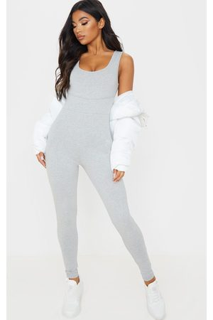 PRETTYLITTLETHING Grey Binding Scoop Neck Jumpsuit